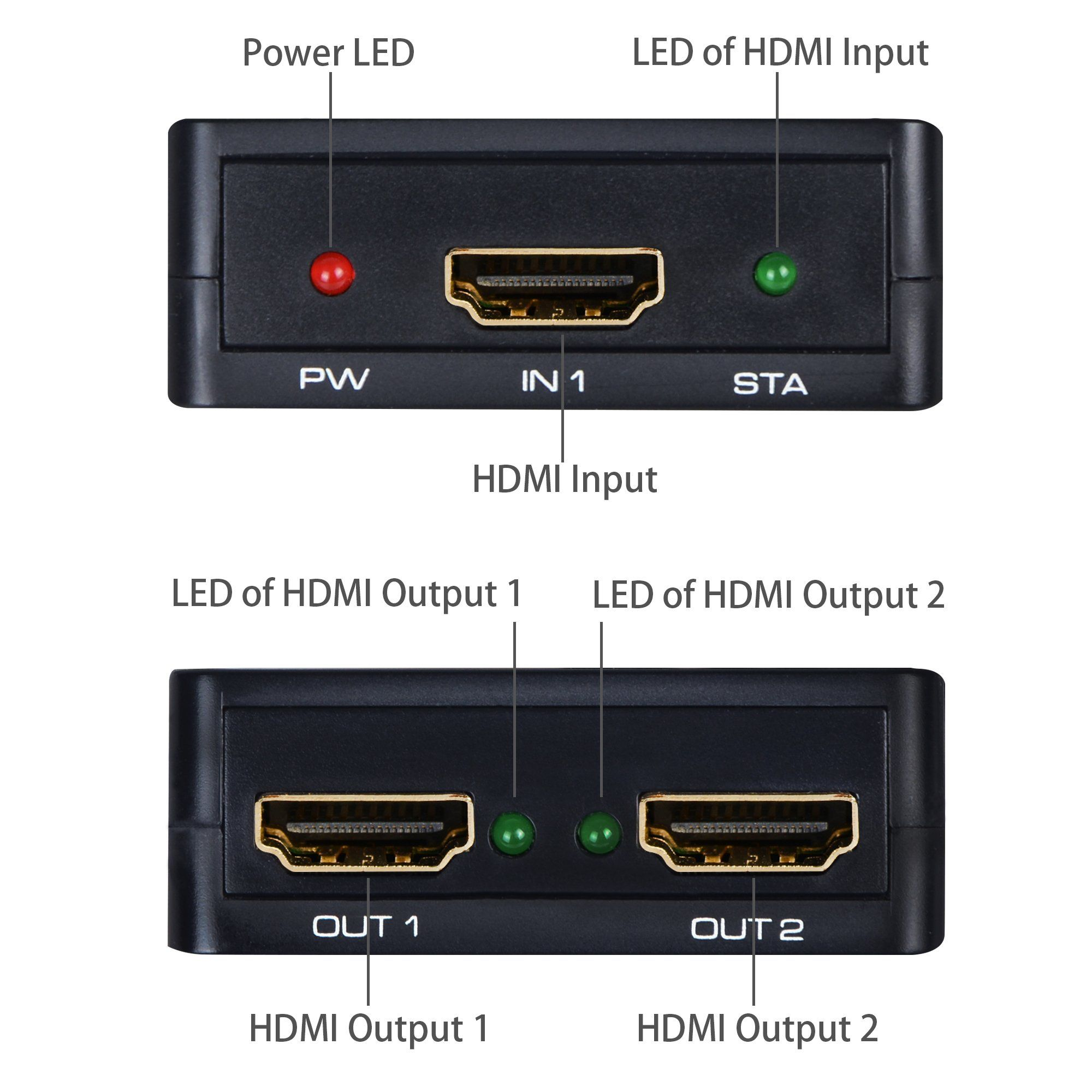 Hdmi Splitter 1 In 2 Out Avedio Links 4k Hdmi Splitter 1x2 With High Speed Hdmi Cable 1 Source To 2 Monitors Usb Cord For Xbox Hdmi Splitter Hdmi Hdmi Cables