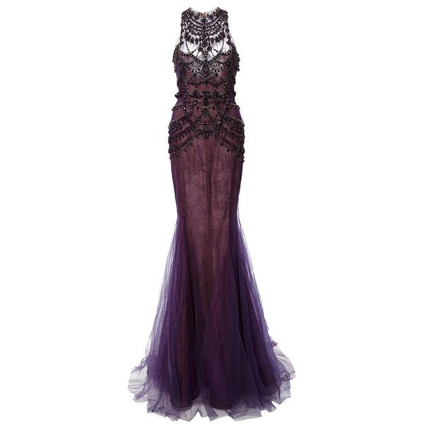 Marchesa Crystal Embroidered Chantilly Lace Mermaid Gown (77 000 SEK) ❤ liked on Polyvore featuring dresses, gowns, marchesa, long dress, halter dress, halter top, purple gown, purple ball gowns and purple dress