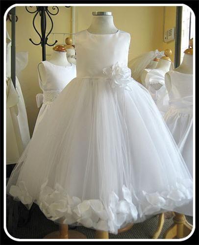 0226e3af225 Girls White Baptism Dress Tulle Skirt w. Flower Petals in Silk or Satin
