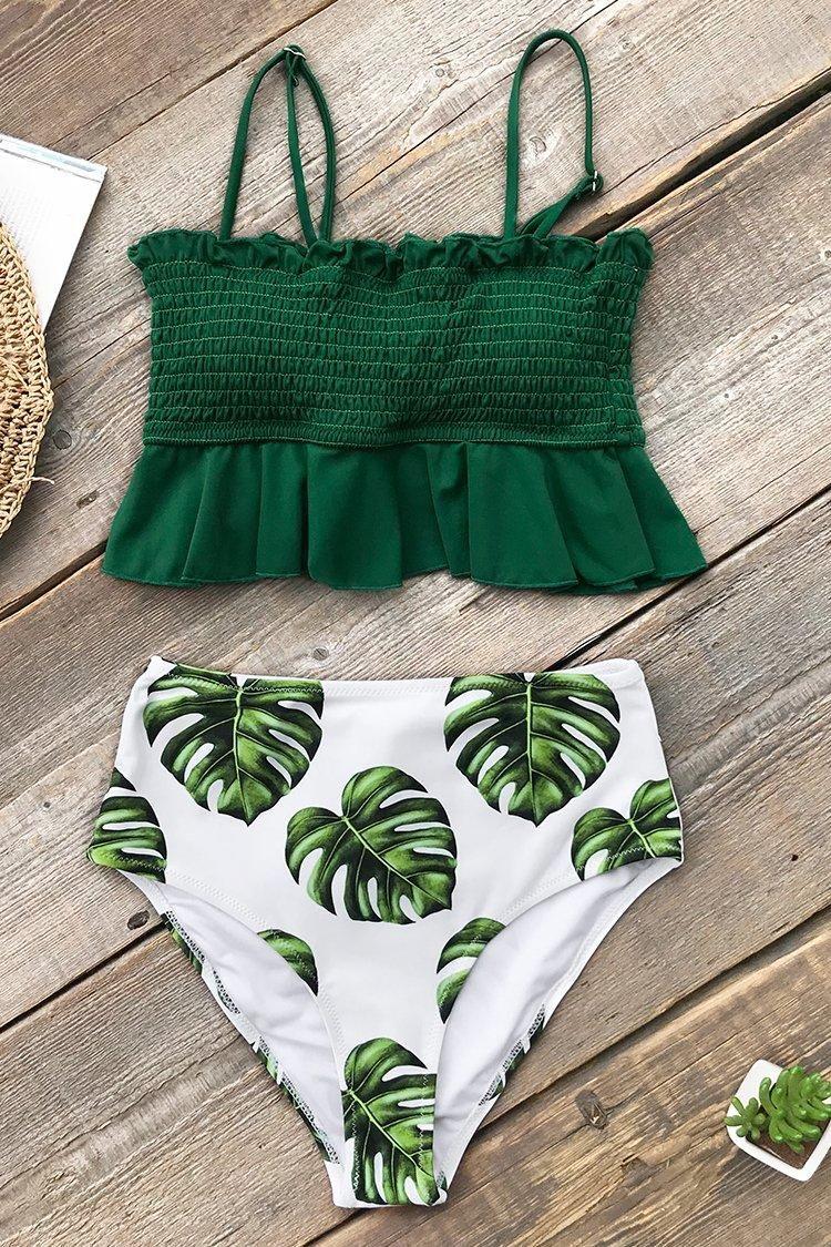 e9dec4afb0c01 #Valentine's Day Sale! #AdoreWe #CupShe - #CUPSHE Smocked Green and  Monstera High-Waisted Bikini - AdoreWe.com