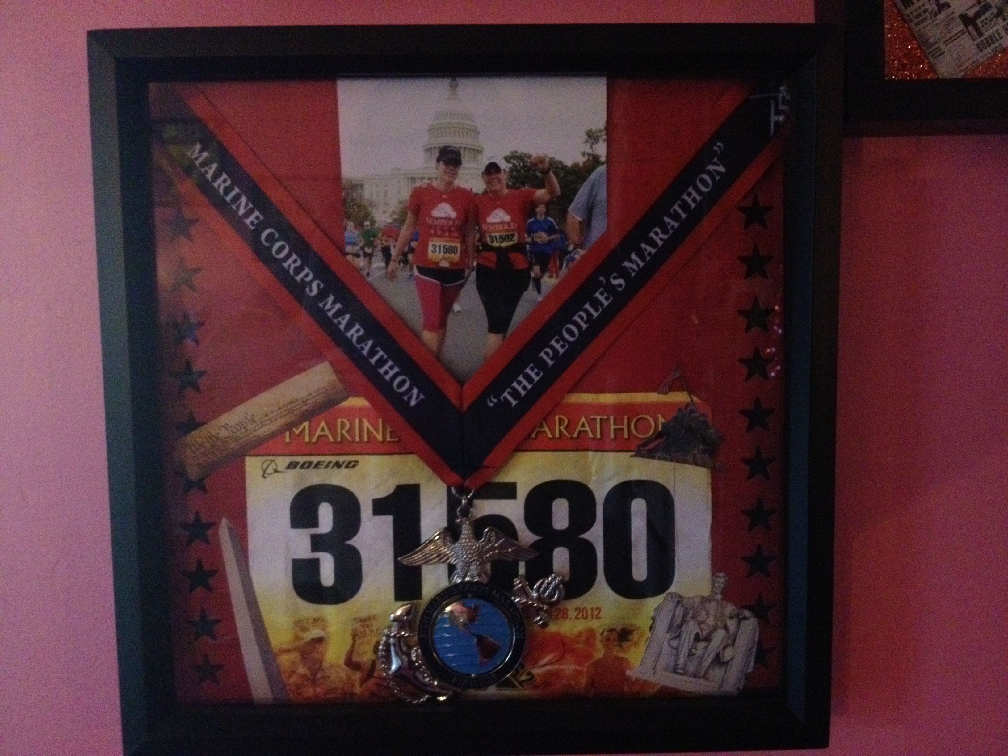 Making Shadow Boxes For Your Race Medals Is A Fun Way To Display Them Running This One Is From The Mar Running Medal Display Race Medal Displays Shadow Box