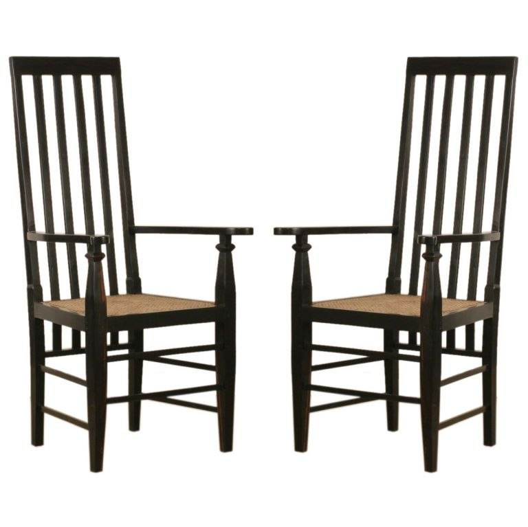 Game Table: Pair Of Anglo Indian Ebony Straight Back Chairs   1stdibs.com
