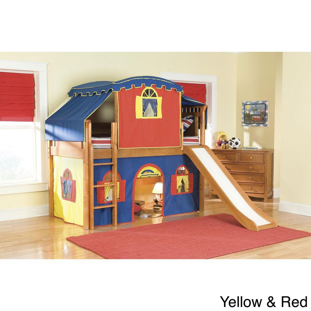 Kids low loft bed  Bennington Low Loft Twin Bed with Castle Tower Top Tent Bottom