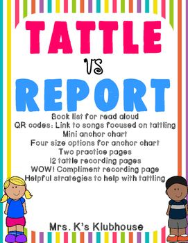 Are Your Students Struggling With Tattling This Bundle Is Perfect For You This Is Perfect Tattling Vs Reporting Tattling Vs Reporting Anchor Chart Book Lists