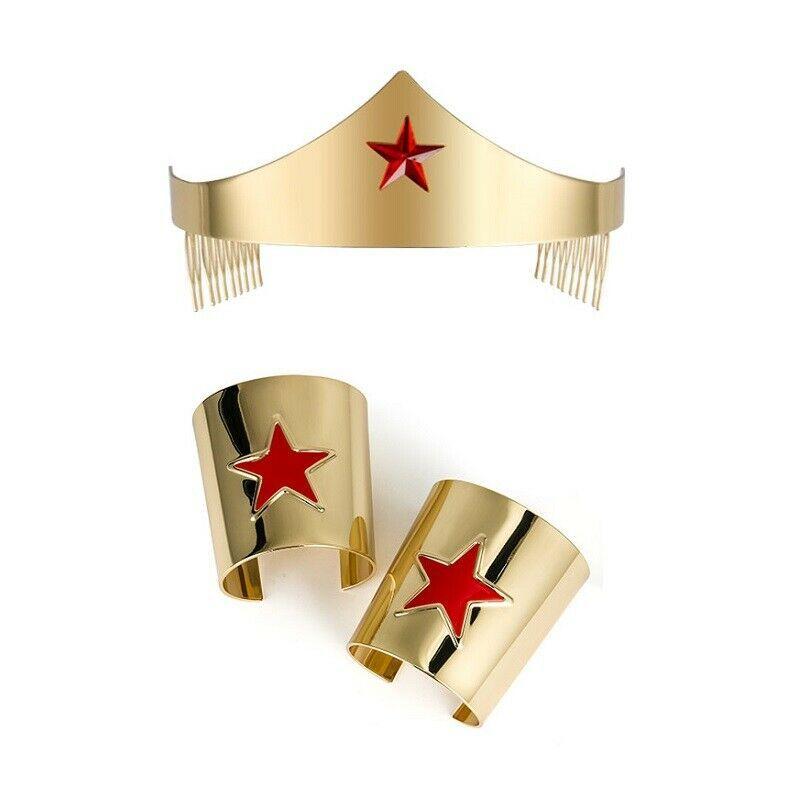 Metal Gold Cos Wonder Woman Adult Tiara Movie Crown Bracelet Costume Accessory Crystal Bridal Headband Tiaras And Crowns Rhinestone Headpiece