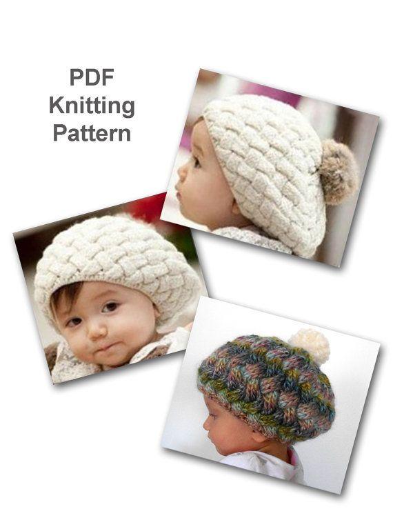 Pdf Knitting Pattern Baby Beret With Pom Pom By Cassiebeecrochet