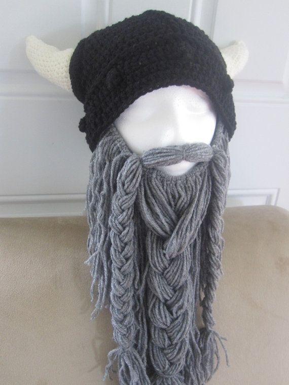 Viking Hat and Beard.   Objetos   Pinterest   Lana, Gorro tejido y ...