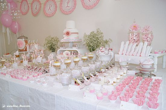 Festas com charme tea parties tea party table and teas - Idee deco baby shower ...