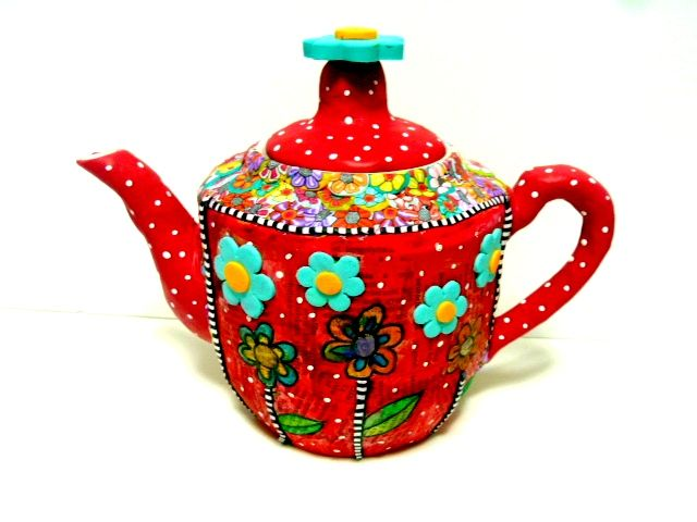 new teapot with my journal art technique