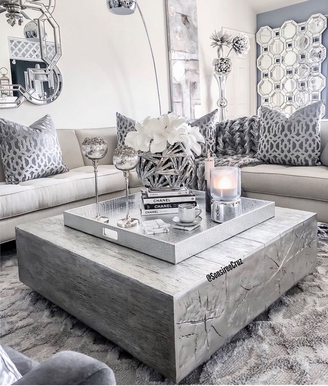 We Are Loving All The Silver Glam Mirrors And Silver Decor My Fav Double Tap And Ta Glam Living Room Decor Glam Living Room Living Room Decor Apartment #silver #mirrors #living #room