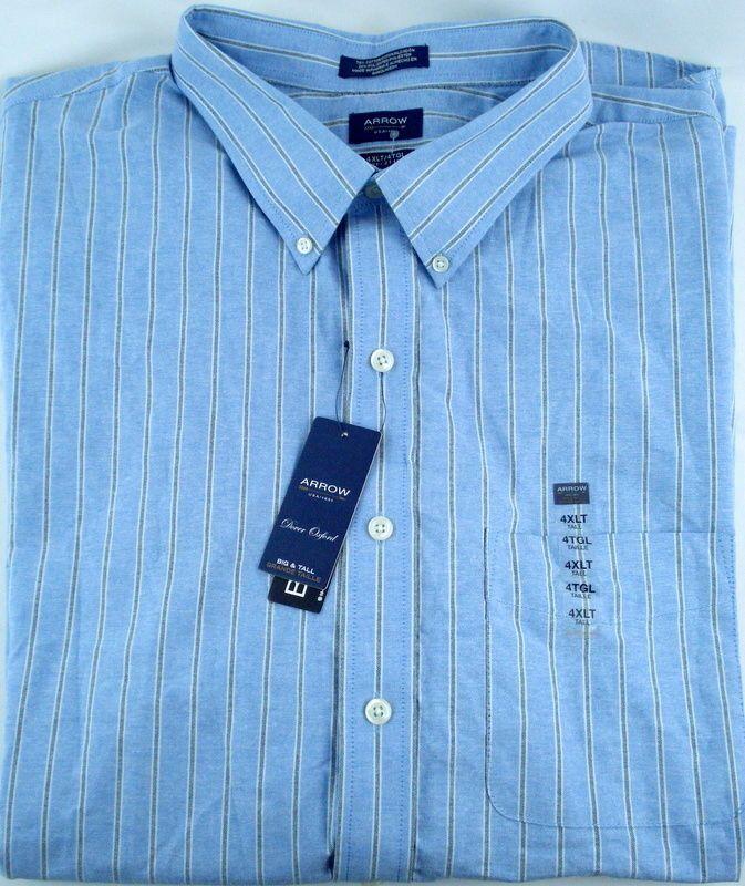 0a60f81ff35 Mens Arrow Shirt 4XLT Blue Striped NEW Button Down SS Big Tall XXXXLT Camp  NWT  Arrow  ButtonFront