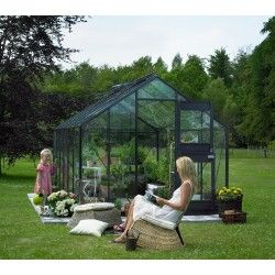 Serre jardin 12,1m² anthracite verre horticole Junior ...