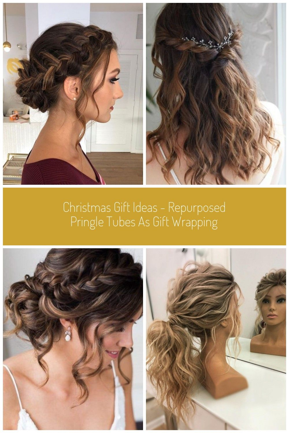 Christmas Gift Ideas Repurposed Pringle Tubes As Gift Wrapping In 2020 Hair Garland Hair Styles Floral Hair