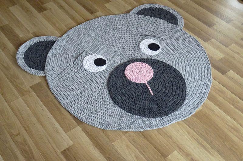 Teppiche Teppich Bärenteppich Häkelteppich Teddy 100 Cm Ein