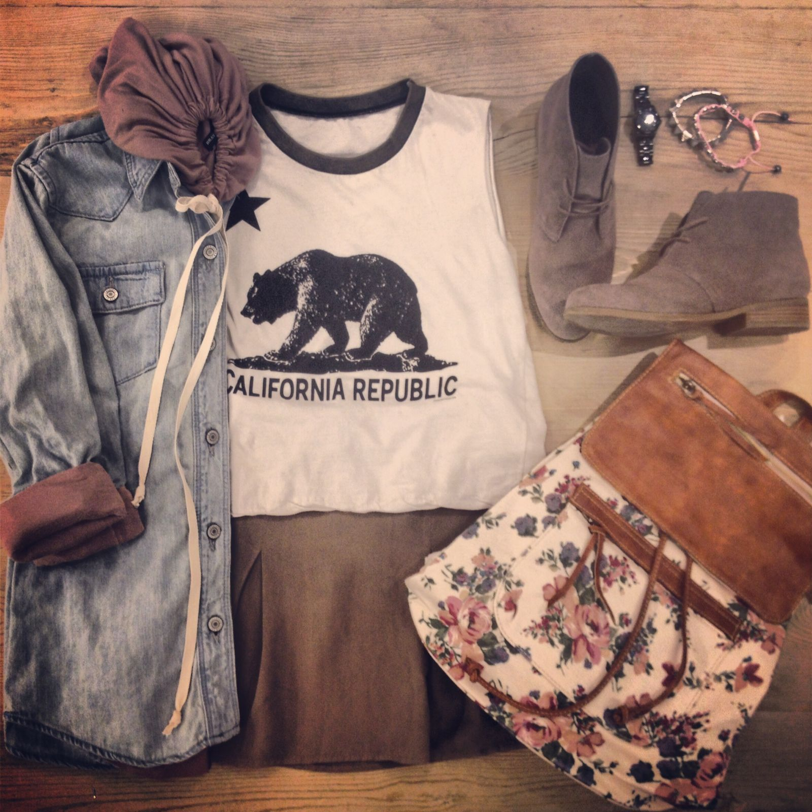 Get ready for spring with this floral backpack and our Agathe Grizzly Bear tank!