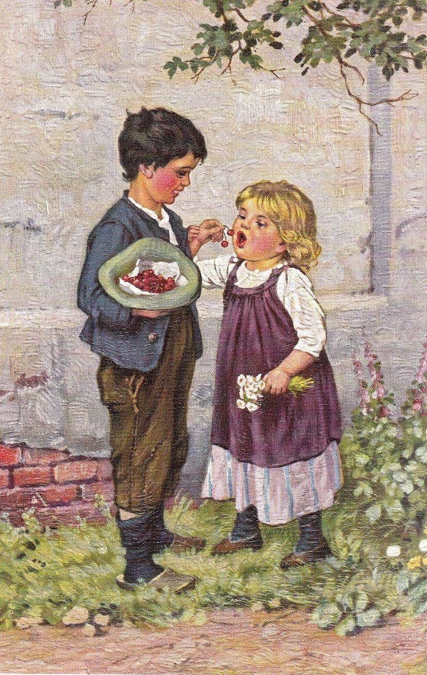 Künstler-AK – Degi Nr. 1174 – Tantalusqualen – Bub gibt Mädchen Kirschen   eBay