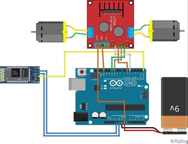 L298 H Bridge Circuit Diagram W124 E320 Wiring Bluetooth Controlled Rc Car Using Arduino L298n With Two Dc Motors