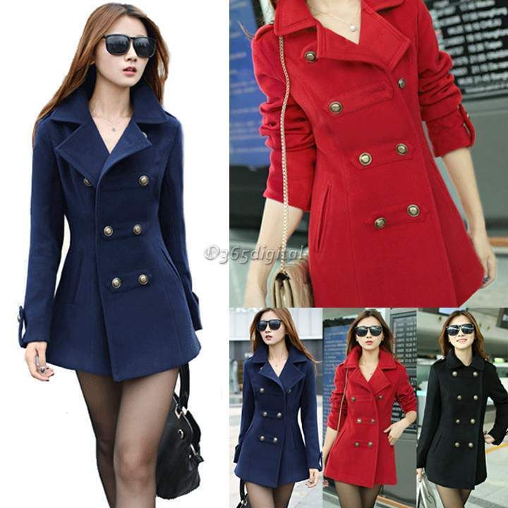 £14.66 Fashion Women s Slim Fit double-breasted Lapel Warm Wool trench coat jacket