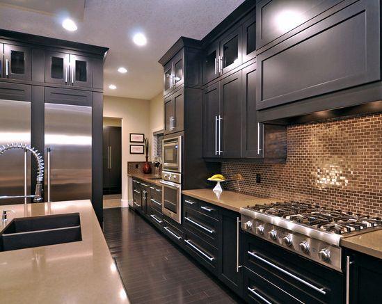 como decorar cocina cocina de colores oscuros ladrillo caravista