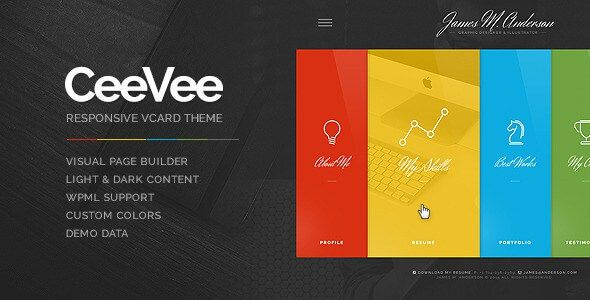 CeeVee Responsive CV Resume WordPress Theme Nulled Scripts - wordpress resume themes