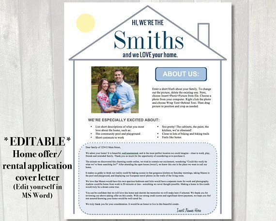 editable home offer letter template. use this letter to the sellers