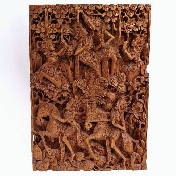 Old Indian Antique Hand Made Small Flower Carved Panel Leaf Carved Panel