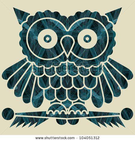 Abstract decorative network textured night owl. Illustration.