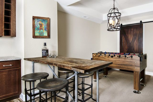 Mixed Media Vintage Table With Distressed Wood Top And Old Iron Metal Legs Trey Ceiling Over Foosball Table Finishing Basement Cool Bars Foosball Table