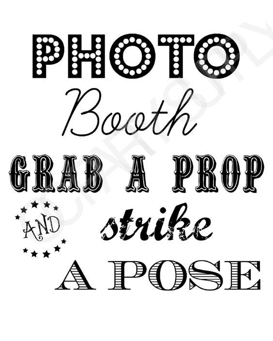 Free Printable Photo Booth Sign, Free Printables, Wedding