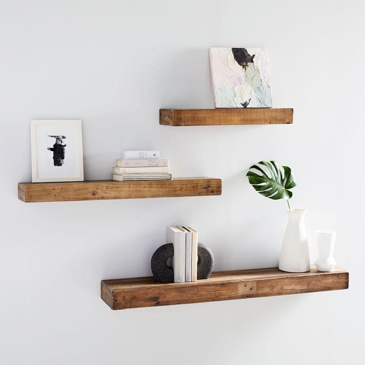 Reclaimed Wood Floating Shelf In 2020 Shelf Decor Living Room Reclaimed Wood Floating Shelves Wood Floating Shelves