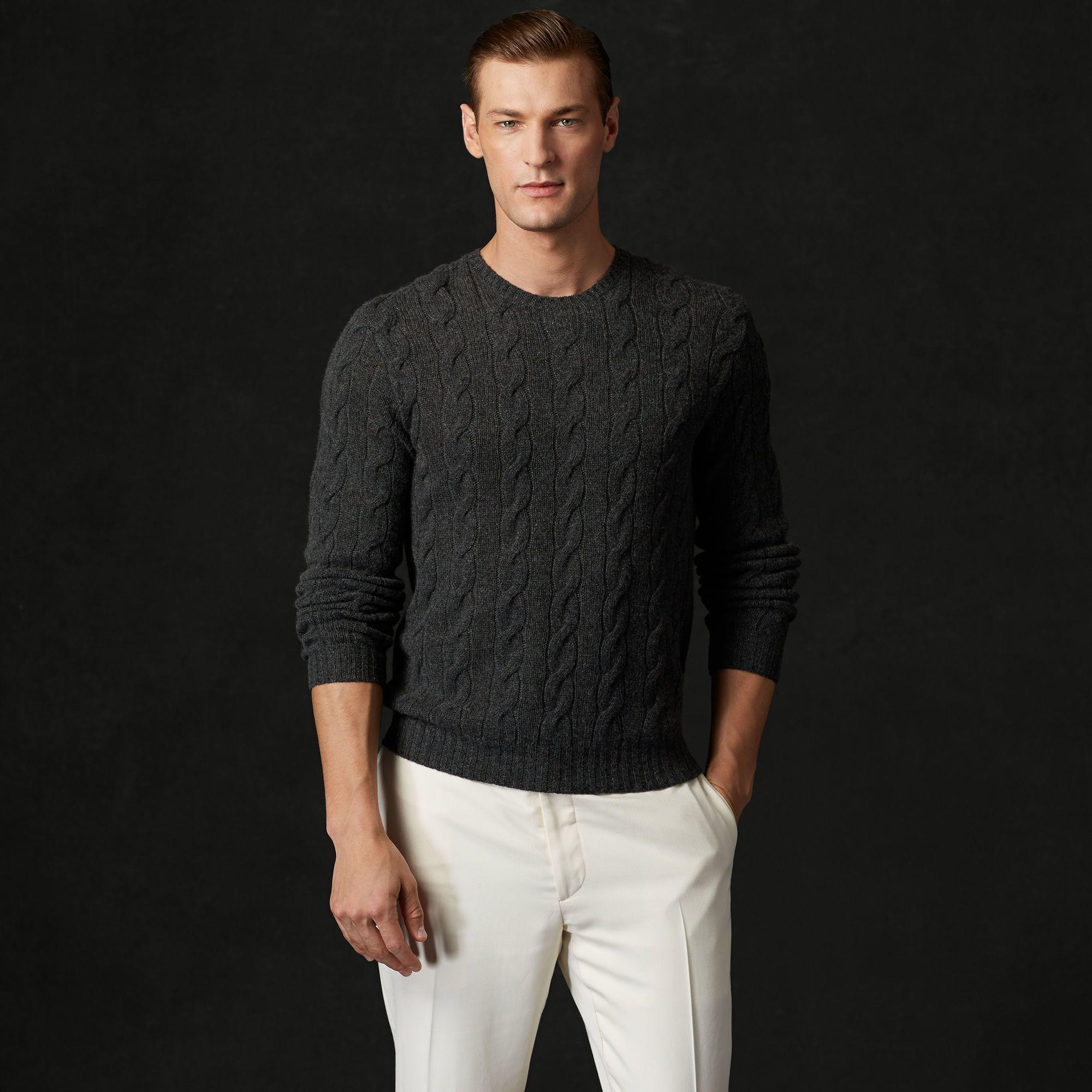 ralph-lauren-purple-label-charcoal-melange-cable-knit-cashmere ...