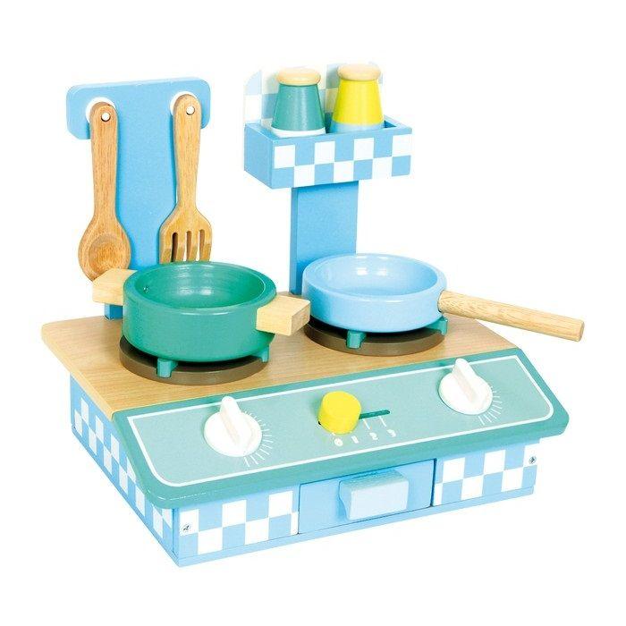 cocina de madera pequea en tonos azul pastel de juguete para nios educacion