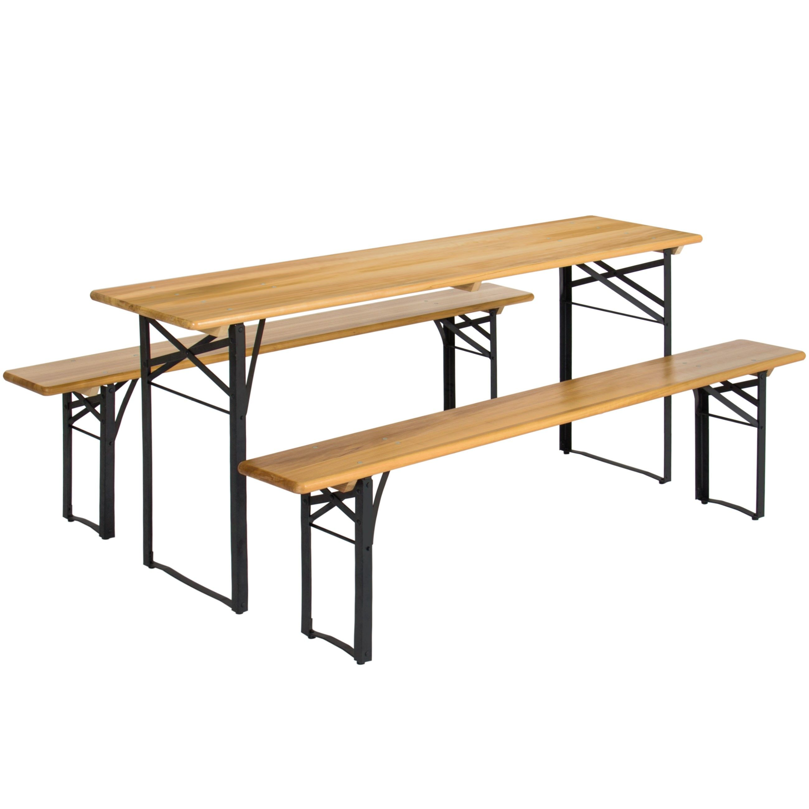 Best Choice Products Portable 3 Piece Folding Picnic Table Set W Wooden Tabletop
