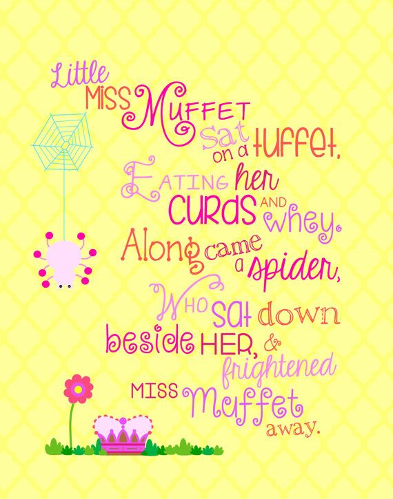 Nursery Rhymes Little Miss Muffet Pink and Yellow Wall Art Girl\'s ...