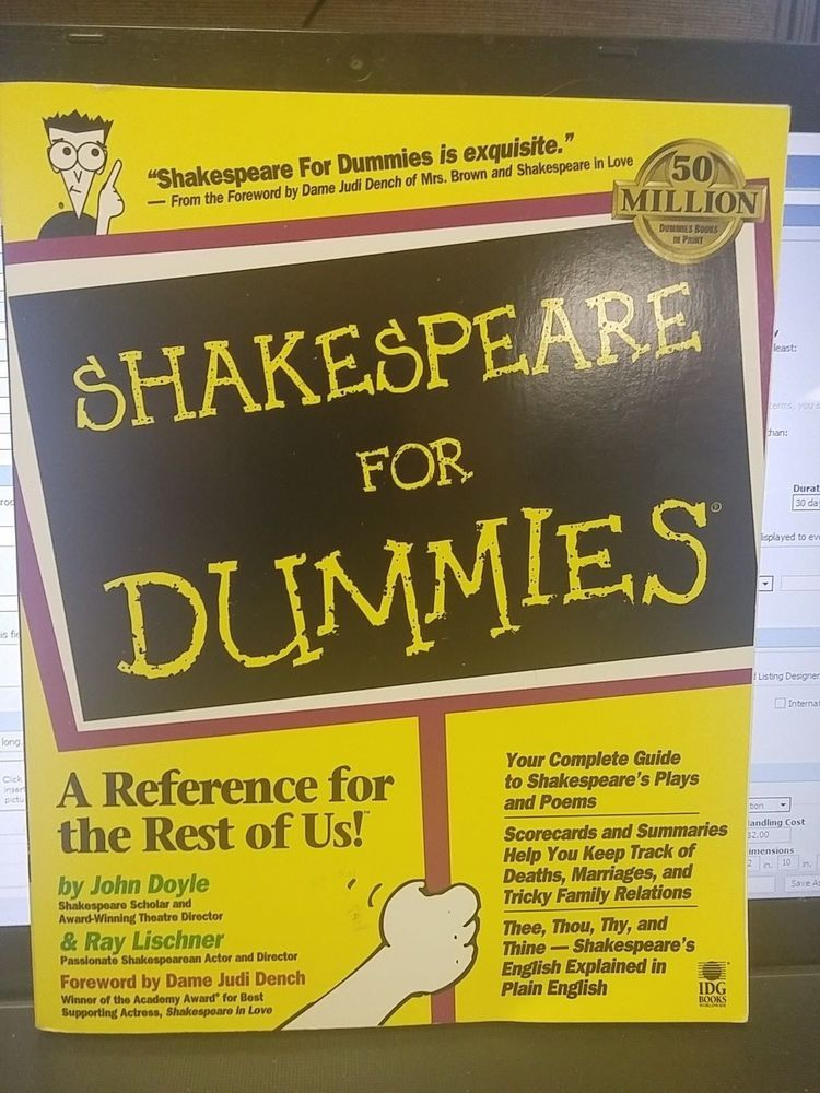 Shakespeare For Dummies A Reference For The Rest Of Us Book Shakespeare Dummy Paperbacks