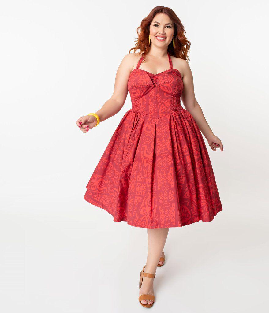 e1492bca904 Alfred Shaheen Plus Size Red Tiki Pareau Print Hawaiian Swing Dress ...