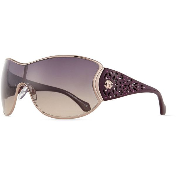 e295ef5249 Roberto Cavalli Metal Shield Sunglasses w/ Laser-Cut Arms ($89 ...