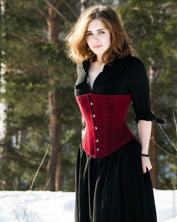 43f64a4cc8 Classic victorian underbust fake suede corset
