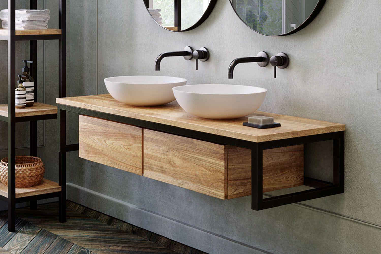 Waschtischunterschrank Loft Aus Teak Metall Schwarz Spa Ambiente In 2020 Waschtischunterschrank Wc Mobel Bad Unterschrank Holz