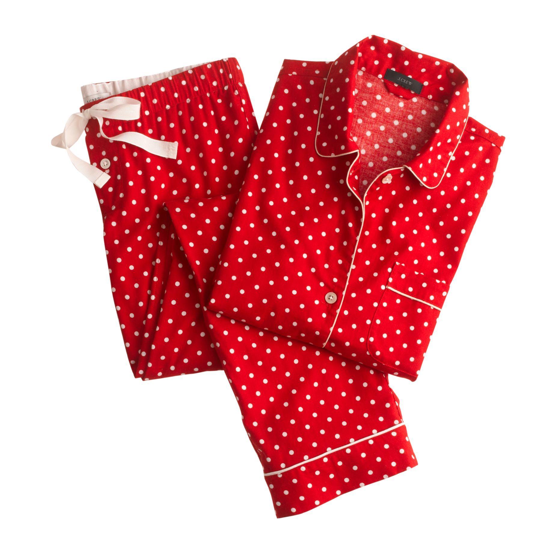 J.Crew women's pajama set in polkadot flannel. Pajama