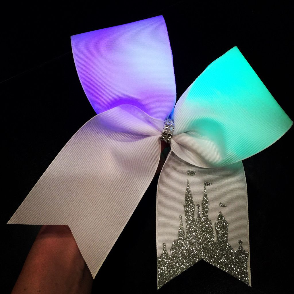 Cheer bow holder for cheer bows and hair bows cheer bow hanger - Color Changing Rainbow Lights Glitter Disney Castle Cheer Bow Can Be Personalized Disney Cheer Bowscute