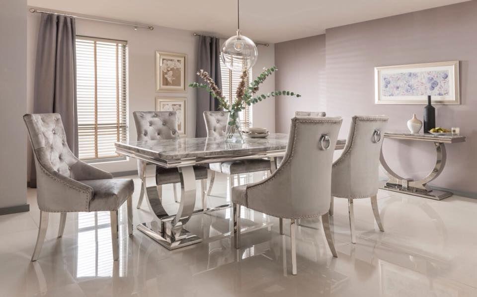 gray velvet chair with silver legs