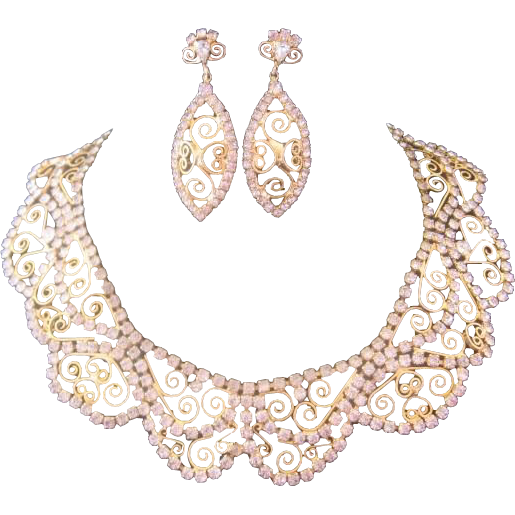 Vintage Stunning Gold tone and Clear Rhinestone Bib Necklace and Earrings