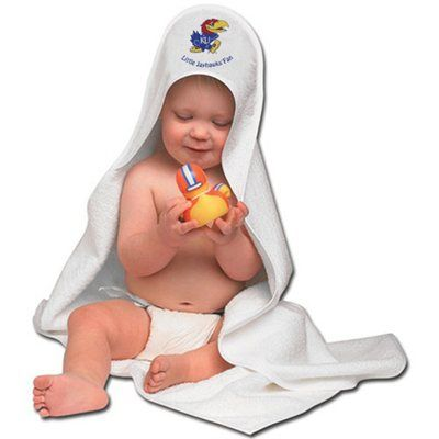 McArthur Kansas Jayhawks Hooded Baby Towel - White