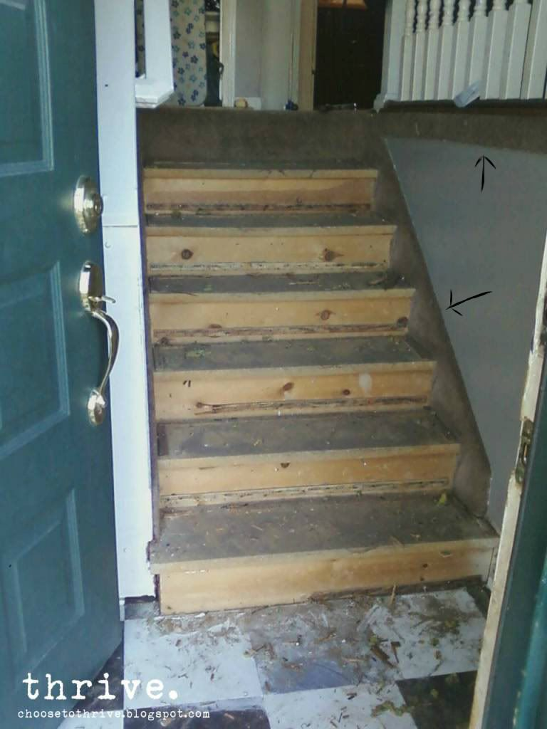 Thrive: How To Paint Your Nasty Particle Board Stairs: Prep Work