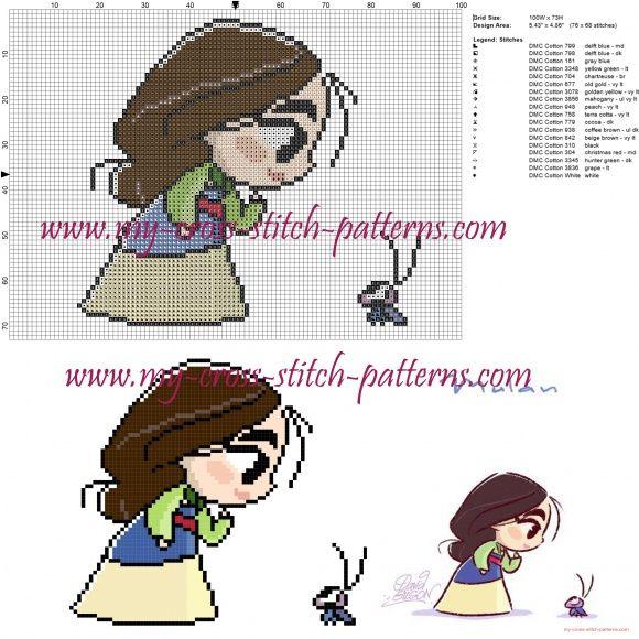 Chibi Mulan cross stitch pattern   crafts♡   Pinterest   Stickerei ...