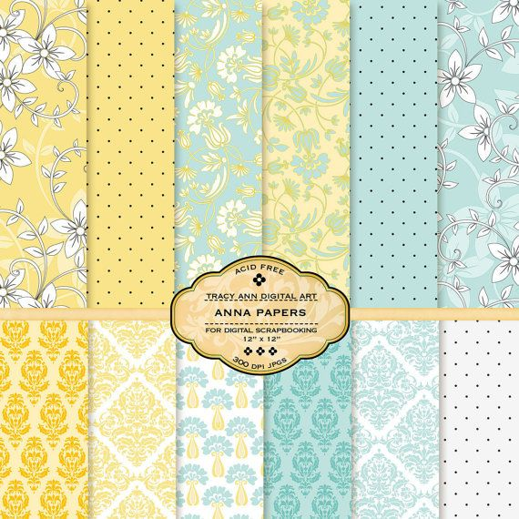 Anna Digital Papers for scrapbooking card by TracyAnnDigitalArt, $4.95