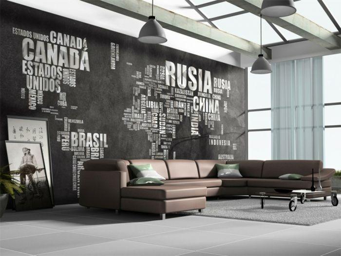Strukturwand Wohnzimmer ~ Weltkarte wand wohnzimmer originelle waddeko landkarte welt