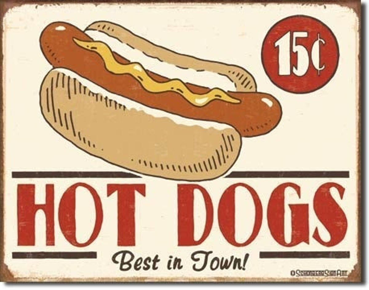 Metal Sign Sterling Beer and Hot Dogs Vintage Look Reproduction