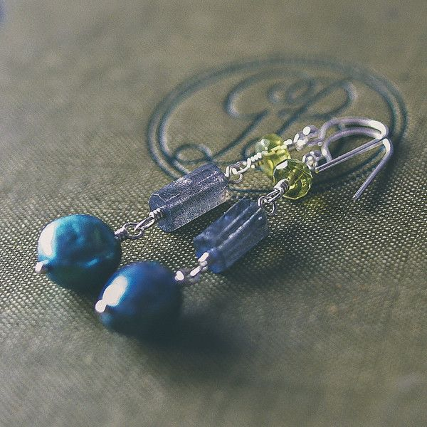 green and blue semi-precious earrings